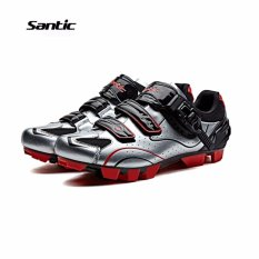 Price Santic Men Mtb Cycling Shoes Auto Lock Bicycle Shoes Mountain Bike For Shimano Spd Eggbeater System Shoes 3 Colors Silver Red Intl Santic New