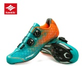 Low Price Santic Men Road Cycling Professional Carbon Fiber Soles Shoes Full Breathable Rotating Button Waterproof 2017 New Style Cycling Bike Road Shoes Gradient Blue Intl