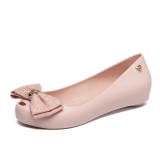 Women S Peep Toe Flat Jelly Shoes N*d* Color Oem Discount