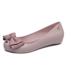Discount Women S Peep Toe Flat Jelly Shoes Taro Color Oem