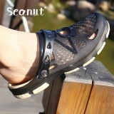 Buy Cheap Seanut New Men Summer Jelly Shoes Beach Sandals Men Hollow Slippers Flip Flops Men Light Sandalias Intl
