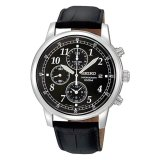How To Buy Seiko Chronograph Men S Black Leather Strap Watch Sndc33P1