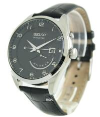 Seiko Kinetic Men S Black Leather Strap Watch Srn051P1 Compare Prices