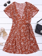 Promo Self Tie Floral Print Wrap Dress Intl