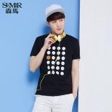Semir Summer New Men Cotton Casual Print Knitted T Shirt Dark Blue China