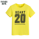 List Price Semir Summer New Men Korean Casual Letter Cotton Crew Neck Short Sleeve T Shirts Yellow Semir