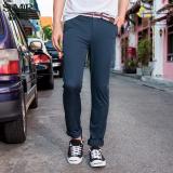 Sale Semir Summer New Men Korean Casual Plain Zip Full Length Skinny Cotton Chinos Pants Dark Blue Semir Branded