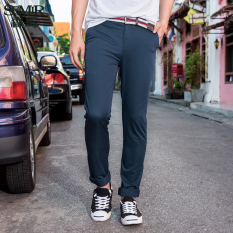 Compare Price Semir Summer New Men Korean Casual Plain Zip Full Length Skinny Cotton Chinos Pants Dark Blue On Singapore
