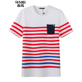 Top 10 Semir Summer New Men Korean Casual Stripe Cotton Crew Neck Short Sleeve T Shirts Red