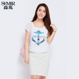 Semir Summer New Women Korean Casual Letter Cotton Crew Neck Short Sleeve Shift Dresses Yellow On Line