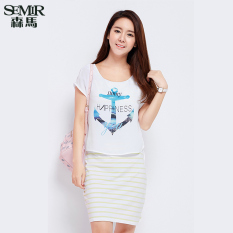 Low Price Semir Summer New Women Korean Casual Letter Cotton Crew Neck Short Sleeve Shift Dresses Yellow