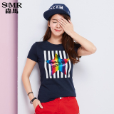 Price Semir Summer New Women Korean Casual Paisley Cotton Crew Neck Short Sleeve T Shirts Dark Blue Semir China