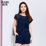 Compare Prices For Semir Summer New Women Plain Short Sleeved Shirt Dark Blue
