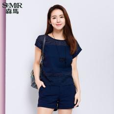 Buy Semir Summer New Women Plain Short Sleeved Shirt Dark Blue Cheap On Singapore
