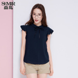 Low Price Semir Summer New Women Plain Short Sleeved Shirt Dark Blue