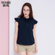 Semir Summer New Women Plain Short Sleeved Shirt Dark Blue China