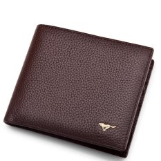 Septwolves Purse Men Short Leather Genuine Head Layer Cowhide Purse Cross Section Tide Business Men Bag Wallet Dark Coffee China