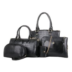 Sale Set Of 5 Pcs Faux Crocodile Leather Shoulder Crossbody Tote Clutch Pouch Bag Black Oem Wholesaler