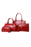 Brand New Set Of 5 Pcs Faux Crocodile Leather Shoulder Crossbody Tote Clutch Pouch Bag Red
