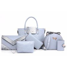 Buy Set Of 6 Pcs Faux Leather Shoulder Crossbody Tote Clutch Pouch Bags Key Holder Snake Greyblue S D Love Original