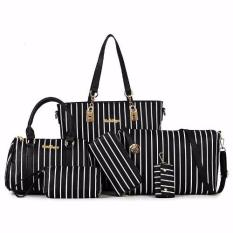 Review Set Of 6 Pcs Faux Leather Shoulder Crossbody Tote Clutch Pouch Bags Key Holder Stripe Black On Singapore