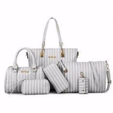 Retail Price Set Of 6 Pcs Faux Leather Shoulder Crossbody Tote Clutch Pouch Bags Key Holder Stripe Light Grey