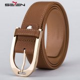 Retail Seven Brand Men Leather Belt Brown Keyhole Buckle Width 3 5Cm Length 120Cm
