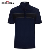 Review Seven Men Casual Polo Shirts Short Sleeve Block Slim Golf Tennis Sportswear Dark Blue Polo Shrits China
