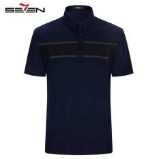 Seven Men Casual Polo Shirts Short Sleeve Block Slim Golf Tennis Sportswear Dark Blue Polo Shrits For Sale Online
