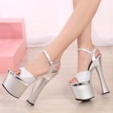 S*Xy 18Cm High Heels Peep Toe Catwalk Models Pumps Thick Platform Buckle Rhinestone Pu Sandals Women Wedding Shoes Intl Free Shipping
