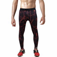 S*xy Camo Mens Compression Pants Sports Running Tights Skinny Basketball Running Base Layer Fitness Joggers Leggings Trousers(Red Lightning) Compare Prices