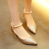 Women S S*xy Low Cut Uppers Pointed Stiletto Heel Pearl Decoration Sandals Gold Gold Discount Code