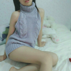 Best S*Xy Knitted Killer Seven Backless Sweater Light Gray Color