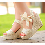 Compare Prices For S*xy Lace Shoes Peep Toe Wedge Womens Platform High Heel Pump Sandals Bowknot Intl