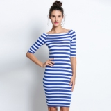 S*Xy Ladies Dress Half Sleeve Strapless Stripe Bodycon Stretch Party Pencil Dresses Review