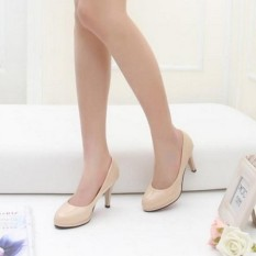 Compare Price S*xy Waterproof Platform Thin Heeled Shallow Mouth Shoes High Heeled Shoes Beige Oem On China