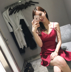 Buy S*xy Wine Red Color V Neck Backless Skirt Dress Skirt Oem