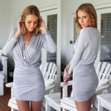 Get The Best Price For S*Xy Women Deep V Neck Long Sleeve Slim Fit Bodycon Party Cocktail Mini Dress Intl