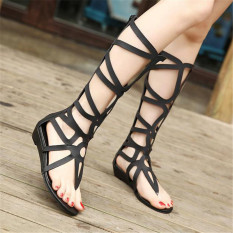 Buy S*xy Women Strappy Open Toe Zipper Knee High Gladiator Sandals Boots Flat Shoes Cheap China