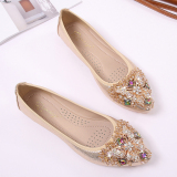 The Fairy Female Pointed Toe Side Scoop Bootie Shoes Gold For Sale