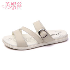 Top Rated Fashion Leather Female Wear Yi Zi Tuo Slippers Beige Beige