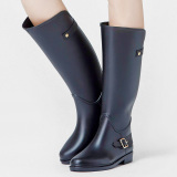 Brand New Women S Casual Non Slip Tall Rain Boots All Black Buckle