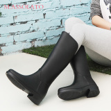 Price Women S Casual Non Slip Tall Rain Boots Black Online China