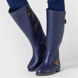 Women S Casual Non Slip Tall Rain Boots Dark Blue Buckle Promo Code