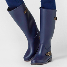 Women S Casual Non Slip Tall Rain Boots Dark Blue Buckle For Sale
