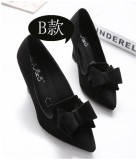 Shoes Female 2016 Spring And Butterfly Knot Slope With Thick With Bridesmaid Wedding Shoes Pointed Shallow Mouth High Heeled Shoes Black Work Shoes B Section Black Suede Promo Code