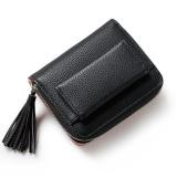Promo Short Purse G*Rl 2017 Cute Buckle Small Fresh Tassels Wallet Purse Black Intl