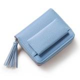 Price Compare Short Purse G*Rl 2017 Cute Buckle Small Fresh Tassels Wallet Purse Blue Intl