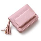 Top Rated Short Purse G*Rl 2017 Cute Buckle Small Fresh Tassels Wallet Purse Pink Intl