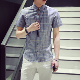 Who Sells Short Sleeved Men Slim Fit Models Korean Style Plaid Shirt Summer Shirt Gray
